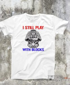 Gearhead Red & Blue PLAYING WITH BLOCKS White T-shirt. Jdm, Euro, Muscle, Usdm, Classic Car Shirts