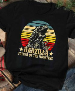 Dadzilla Father Of The Monsters Vintage Retro Sunset T-Shirt