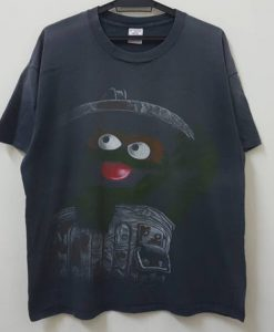 Vintage 90s OSCAR the GROUCH sesame street character jim henson productions single stitch hype dope swag hip hop rap style t shirt
