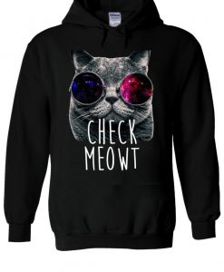 Check Meowt Space Glasses Cat Hoodie