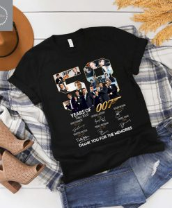 007 James Bond 56 Years Anniversary Actors Signatures For Fan Shirt, TV Series shirt,Movie Lover Tshirt